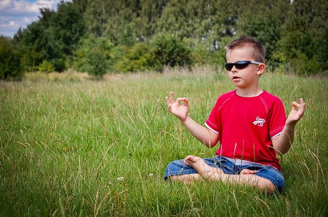 A young boy wearing sunglasses and sitting in a field